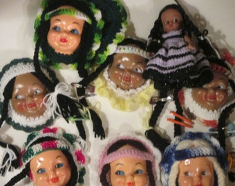 Doll FACES --Crafting--Plastic Doll Heads   for Crafts--vintage--7  for One  Price Plus Another  Doll for a  Bonus
