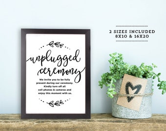 "Unplugged Wedding Sign | Printable Unplugged Ceremony Sign | Wedding Signs | Wedding Day Signs  | 8x10"" and 16x20"" 