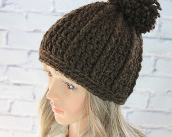 Pom-pom Hat PATTERN - Aspen Crochet Hat Pattern #27 - Crochet PATTERN - Womens Pompon Hat Pattern - Digital Download - Not a Physical Hat!