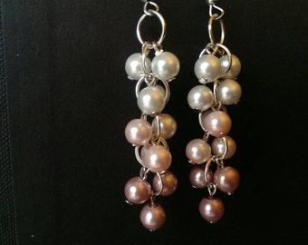 Pink Ombre Pearly Cluster Earrings - Handmade