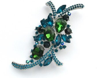 Teal Blue Green Silver Rhinestone Brooch Crystal Brooch Wedding Accessories Bridal Brooch bouquet Hair comb Wedding Cake Brooch