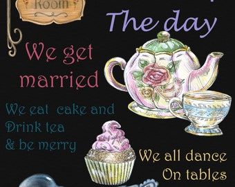 Welcome to our wedding chalk board poster tea pot tea party