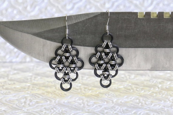 Black Stainless Steel and Stainless Steel -Japanese 12 in 2 - Chain Maille Earrings - Gothic Chainmail Earrings - Viking Armor Earrings