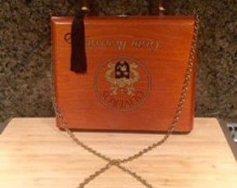 Oliveros Wood Cigar Box Purse w/Rattan Handle