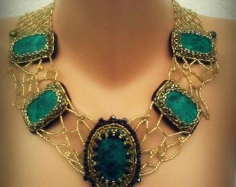 "Unique Handmade necklace:""Green Goddess"""