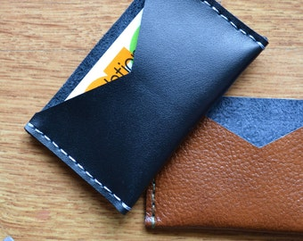 Black leather card wallet / Black leather card holder / Black leather card sleeve / Genuine leather