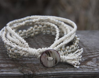 White beaded bracelet, braided with waxed cord and glass Japanese Toho seed beads