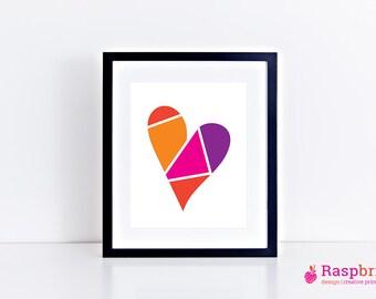 Bright heart, digital print, home decor, modern, scandinavian, bright, wall art, bold, poster, love, 8x10