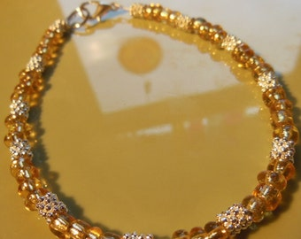 Topaz glass beads with silver spacers