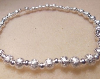 Sparkly silverplated beaded elastic bracelet