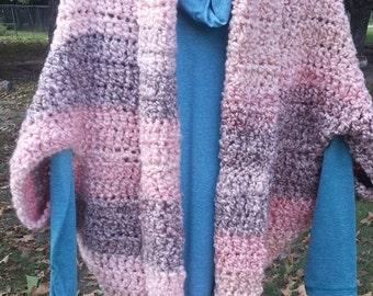 Shrug-coral/peach thick yarn crochet shrug-soft thick yarn shrug-large shrug-coral multi color large shrug-striped large shrug