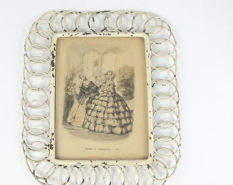 Shabby chic picture frame -  vintage photo frame - white shabby chic decor - vintage wall art