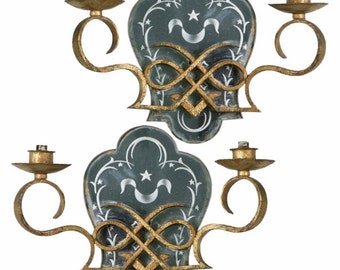 REDUCED Pair Two Light Gilded Iron Mirrored Wall Sconces [1300]