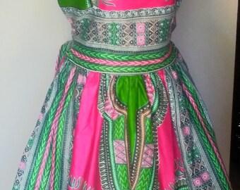 Pink Dashiki Short Dress