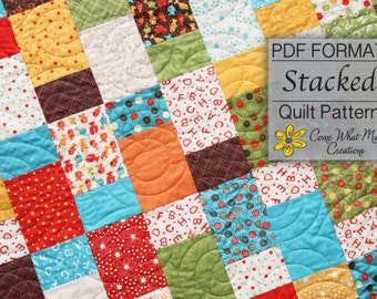 Layer Cake Quilt Pattern, Baby Quilt Pattern, Lap Quilt Pattern, Stacked, PDF Quilt Pattern, Beginner Quilt Pattern, Easy Quilt Pattern