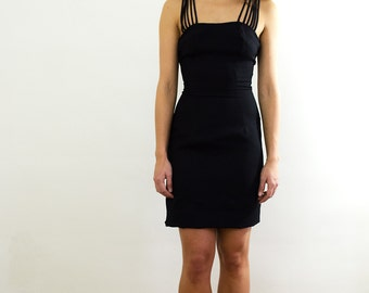 Black Body Con Dress/ Strappy Dress/ Sweetheart Neckline