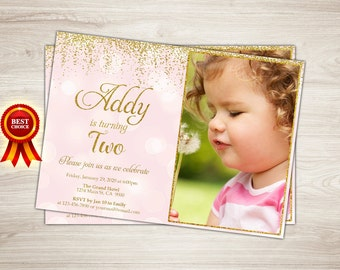 Pink and Gold First Birthday Invitation, Pink and Gold Birthday Party, Peach and Gold Glitter Birthday Invitation, Girl Birthday Invitation