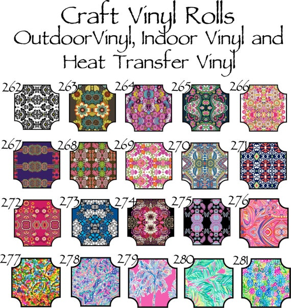 Beautiful, Vibrant Patterned Craft Vinyl and Heat Transfer Patterns 262-281