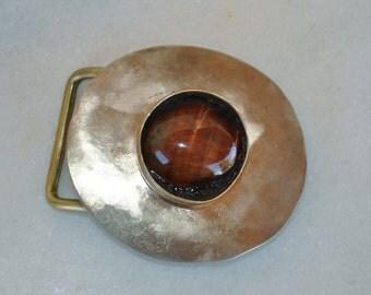 brass Belt Buckle with a semiprecious stone - Handmade
