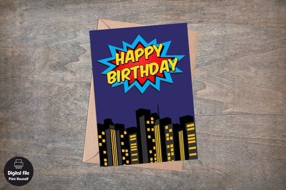 superhero birthday card printable greeting card happy  etsy, Birthday card