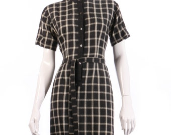 Donald Davies vintage black and white checked dress size 14