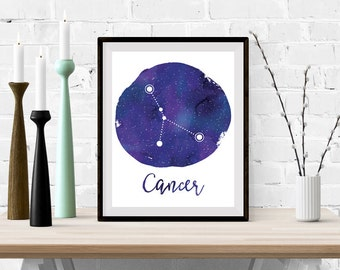 Cancer Zodiac Constellation Wall Art, Cancer Art Print, Astrology Digital Art Print, Home Decor, Watercolor Art, Instant Download 0075