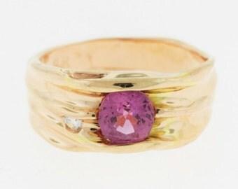 Pink Sapphire Diamond Ring, 14k Gold Sapphire Ring, Gemstone Ring,
