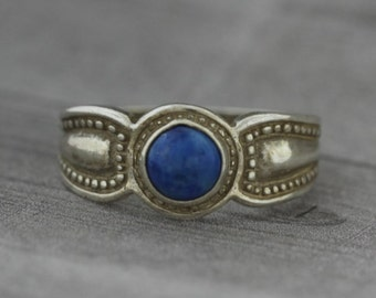 50% OFF Deep Blue Lapis Cabochon Ring - Sterling Silver - Blue Stone Jewelry