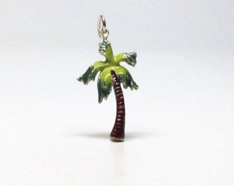 PALM TREE, Charm, Palm Tree Necklace, Sterling Silver, Charms Only, Beach Jewelry, Enamel, Silver Palm Tree, Tropical Charm, Island Life