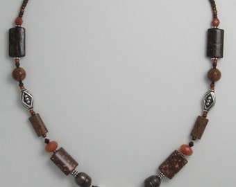 Dinosaur bone / Chrisanthemum stone beaded necklace 345