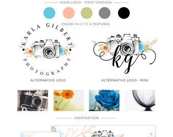 LOGO KIT, Premade Photography Logo, Camera Icon Watercolor Logo, Premade Branding Package, Small Business Logo Design, Whimsical Trendy Logo