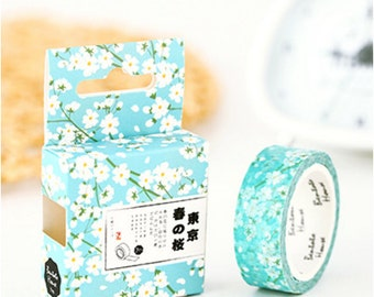 Washi Tape, Masking Tape, Planner Stickers - blue floral