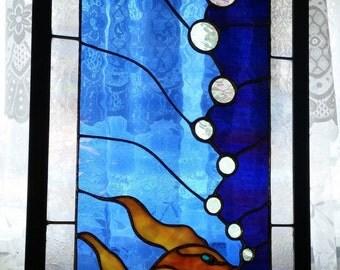 Stained glass window|Blue stained glass art panel|Koi fish glass panel|Wedding present|Glass angelfish|Bubbles/FREE SHIPPING ltd. time