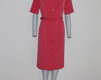 Vintage Dress Coral Red Dress Short Sleeve Button Up Belted Coral Shirt Dresses Padded Shoulder Medium Size