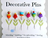 Decorative Sewing Pins - Gift for Quilters - Fancy Pins - Flower Pin - Quilting Pins - Embellishment Pins - Thread Catcher Pins - Pin Topper
