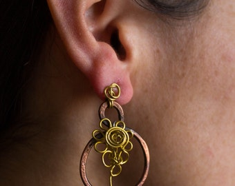 Copper and Brass Wire Earrings, Dangle Jewelry