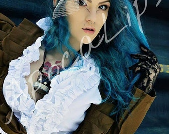 Blue Haired Steampunk Model Print