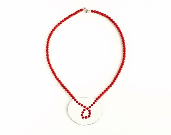 Necklace coral and enamel