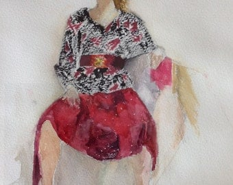 giclee reproduction of original watercolor of girl in red skirt