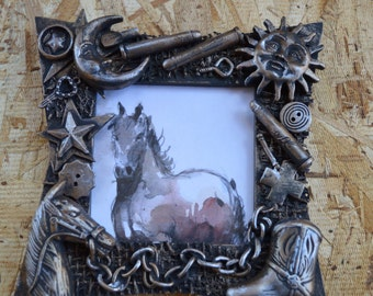 Western picture frame, cowboy picture frame, great gift, handmade, rustic, steampunk