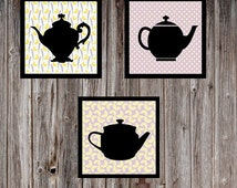 Tea Art, Lemon Tea, Kitchen Art, Kitchen Decor, Country Kitchen Decor, Kitchen Wall Art, Art of Tea, Ceramic Teapot, Teapot Set, Teapot