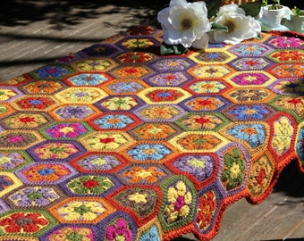 Crochet afghan, crochet blanket, crochet african flowers, crochet throw, Multicolour crochet blanket