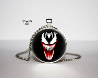 Venom comic Necklace, Venom pendant, Super hero necklace, Art Gifts, for Her, for him