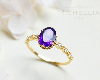 14K/18K Amethyst Engagement Ring with Diamond, Solid Gold Vintage Amethyst Ring, Natural Purple Amethyst Promise Ring, February Birthstone