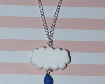 Rain Cloud Polymer Clay Necklace