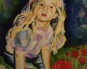 Commission an original watercolor painting of your child