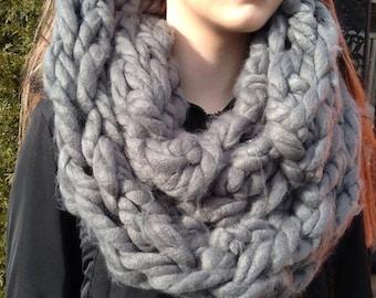 Grey Chunky Knit Infinity Scarf
