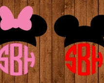 Mickey Mouse Monogram Vinyl Decal, Minnie Mouse Monogram Vinyl Decal, Mickey Car Decal, Mickey Vinyl Decal, Magic Band Decal, Monogram Decal