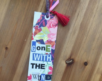 Handcrafted Collage Bookmark: Gone With The Wind