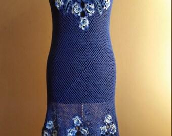 Blue crochet dress with flowers